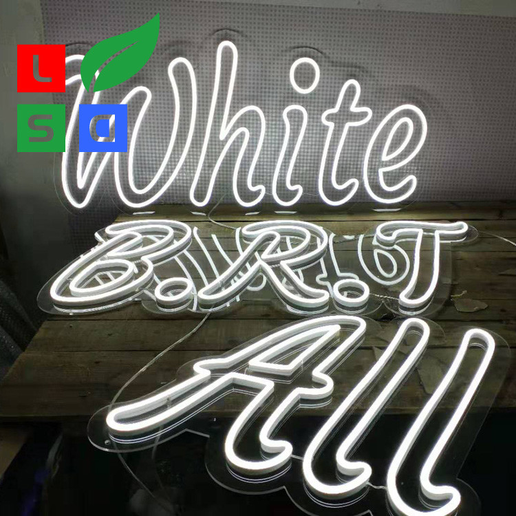 LED Neon Word Signs 100-240V Input Dual Lines White Neon Sign
